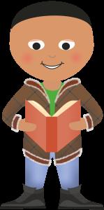 PJDL.Boy Standing Reading