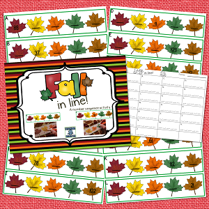 Fall Task Cards--Number Sequence activity