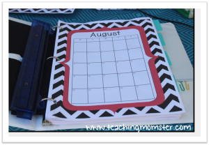 binder picture calendar