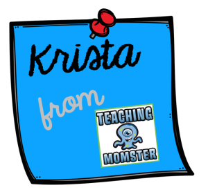 krista from teaching momster blue background