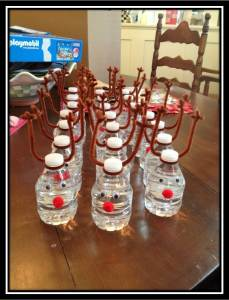 reindeer water bottles with border