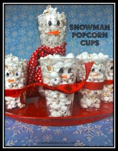 snowman popcorn cups with border