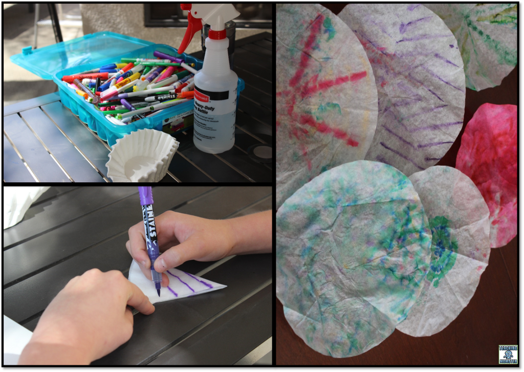 Use markers, water, and coffee filters to create symmetrical designs by Teaching Momster