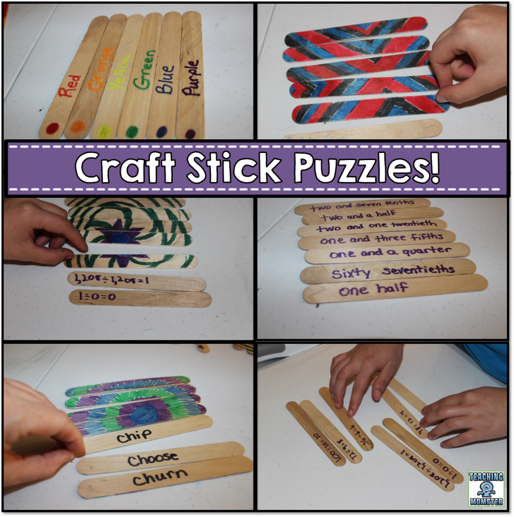 Educational puzzles with craft sticks